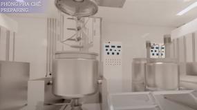Mô hình 3D dự án mẫu nhà máy sản xuất mỹ phẩm tiêu chuẩn CGMP ASEAN